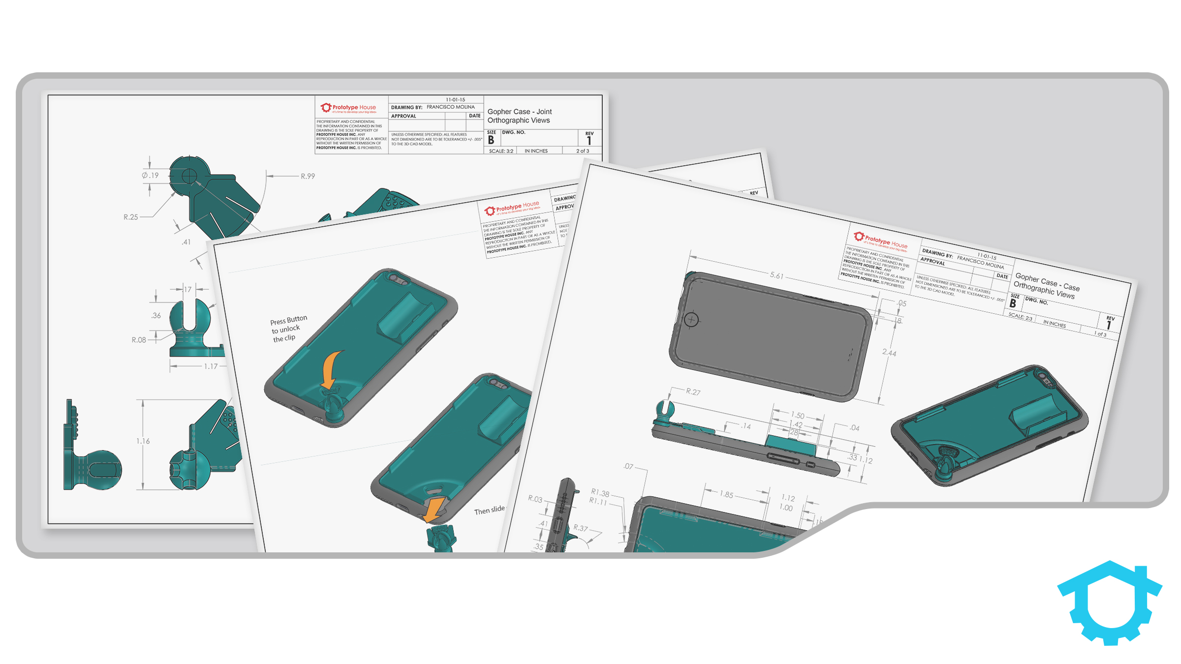 It's imperative you protect your invention. This image shows some drawings from our patent drafting process.